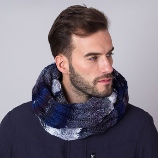 Knitted scarf in dark blue-grey 11157, Willsoor