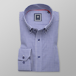 Men's Slim Fit shirt with dark blue-white pattern 11172, Willsoor