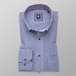 Men's classic shirt with dark blue-white pattern 11173, Willsoor