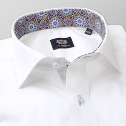 Men's Slim Fit shirt in white with oriental pattern 11177, Willsoor