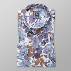 Men's classic shirt with brown and blue floral pattern 11183, Willsoor
