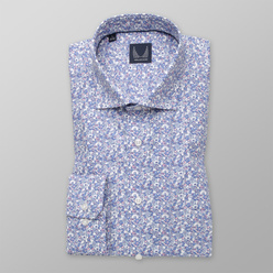 Men's classic shirti with light blue floral pattern 11209, Willsoor