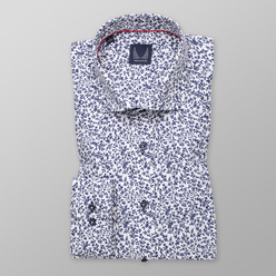 Men's Classic shirt in dark blue with floral pattern 11211, Willsoor