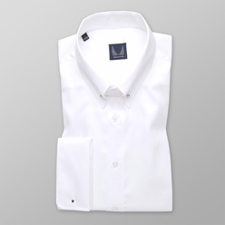 Men's classic shirt in white color with smooth pattern 11230, Willsoor