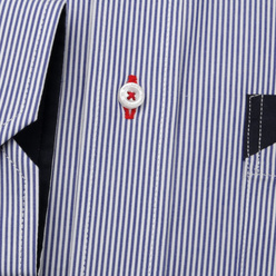 Men's classic shirt with striped pattern and contrast elements 11252