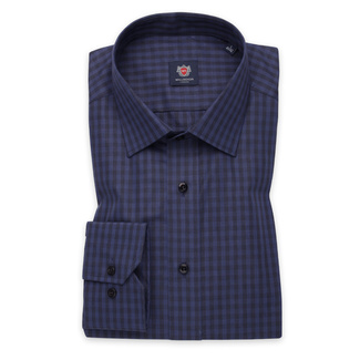 Men's Slim Fit shirt with dark blue-black check pattern 11254