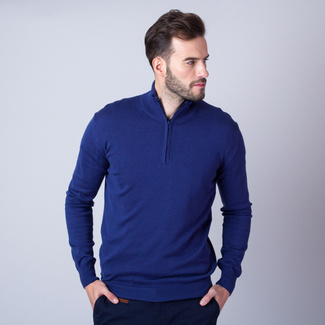 Men's jumper in dark blue with zipper fastening 11255