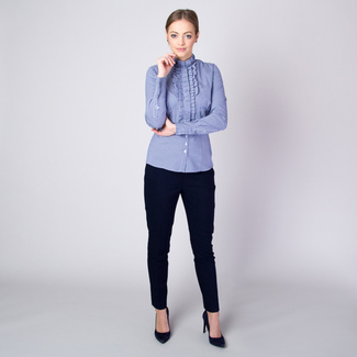 Women's shirt with dark blue-white striped pattern 11256, Willsoor