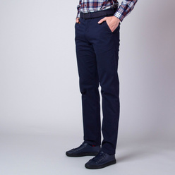 Men's chinos trousers in dark blue with trims on pockets 11266, Willsoor