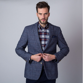 Men's suit jacket in grey color with check pattern 11277, Willsoor