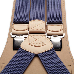 Men's braces in blue color with beige edges 11287, Willsoor