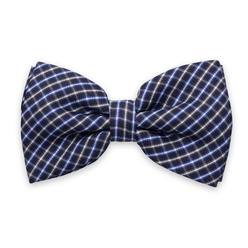 Men's braces in dark blue and check bow tie 11298, Willsoor