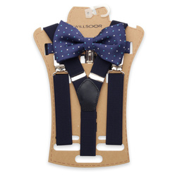 Men's braces in dark blue and polka dot bow tie 11300, Willsoor