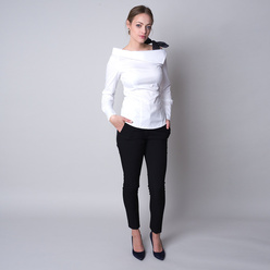 Women's t-shirt in white color with a polka dot bow 11322, Willsoor