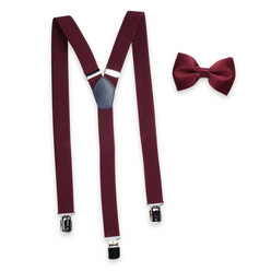 Men's braces in claret color and bow tie 11328, Willsoor