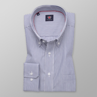 Men's classic shirt with dark blue striped pattern 11333