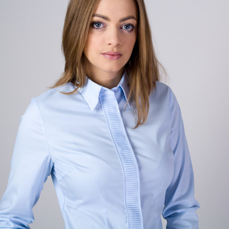 Women's shirt with pleating in light blue 11345, Willsoor