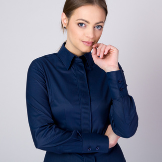 Women's  shirt with pleating in dark blue 11346, Willsoor
