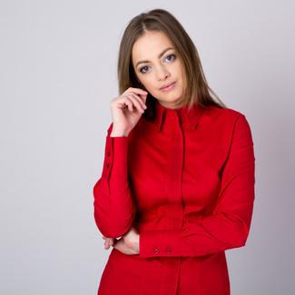 Women's shirt with pleating in red 11347, Willsoor