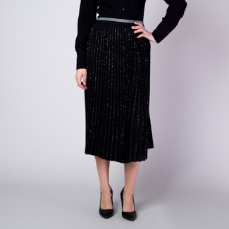 Pleated midi skirt in black with silver threads pattern 11360, Willsoor