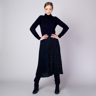 Pleated midi skirt in dark blue with silver threads pattern 11361, Willsoor