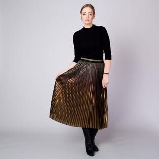 Pleated midi skirt in gold-copper with ombre effect 11362, Willsoor