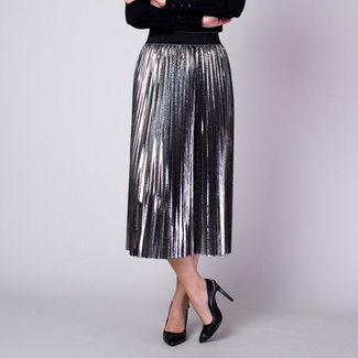 Pleated skirt in silver color with glossy finish 11363, Willsoor