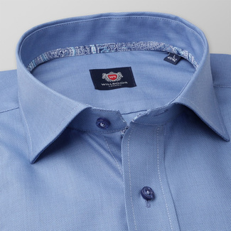 Men's classic shirt in blue color with fine pattern 11381, Willsoor