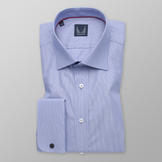 Classic men's shirt in blue color with striped pattern 11384