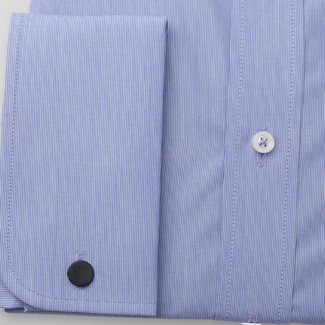 Classic men's shirt in blue color with striped pattern 11384, Willsoor