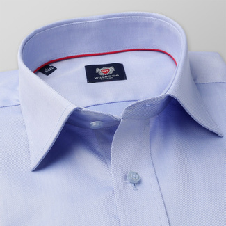 Classic men's shirt in blue with fine striped pattern 11388, Willsoor