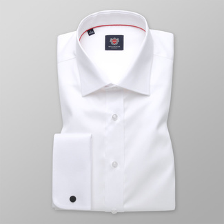 Classic men's shirt in white color with smooth pattern 11390