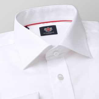 Classic men's shirt in white color with smooth pattern 11390, Willsoor