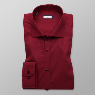 Men's Extra Slim Fit shirt in claret color with smooth pattern 11392