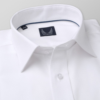 Men's Slim Fit shirt in white with fine pattern 11395