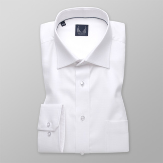 Classic men's shirt in white color with fine pattern 11396