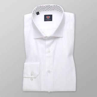 Men's Slim Fit shirt in white with smooth pattern 11397