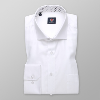 Classic men's shirt white with smooth pattern 11398