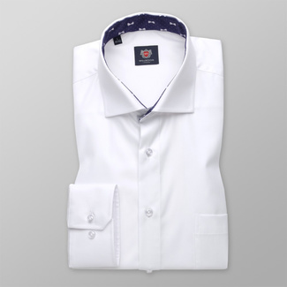 Classic men's shirt in white color with dark blue pattern 11400