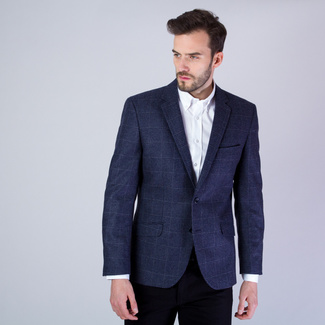 Men's suit jacket in dark blue with checked pattern 11535