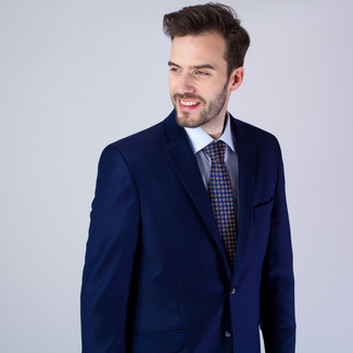 Men's suit jacket in dark blue color with fine pattern 11536