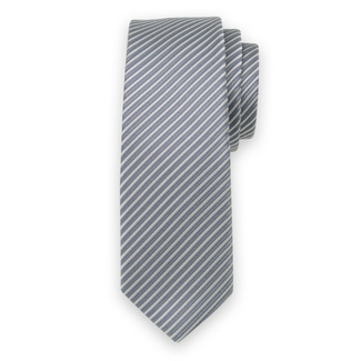 Classic tie with dark grey striped pattern 11544, Willsoor