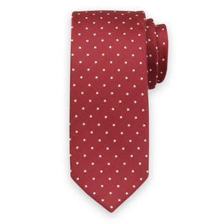 Classic tie in red color with white pattern 11547