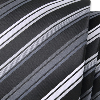 Classic tie with silver-grey striped pattern 11548, Willsoor