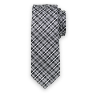 Classic tie with black-grey check pattern 11550
