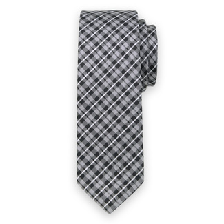 Classic tie with black-grey check pattern 11550, Willsoor