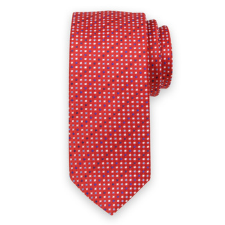 Classic tie in red color with fine pattern 11552