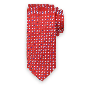 Classic tie in red color with fine pattern 11552, Willsoor