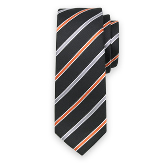 Classic tie with orange a silver pattern 11555