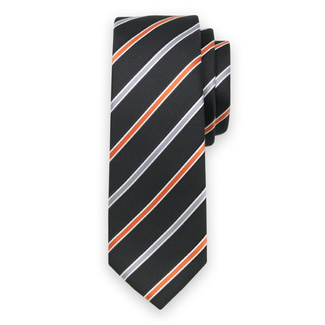 Classic tie with orange a silver pattern 11555, Willsoor